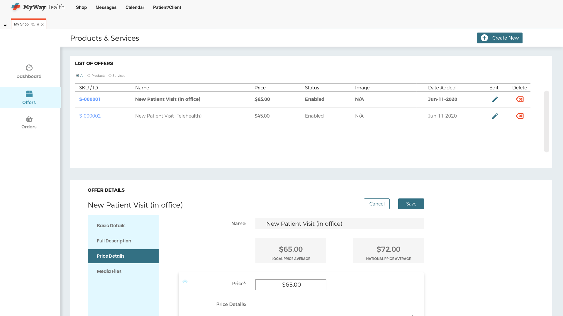 Screen shot of provider offer pricing